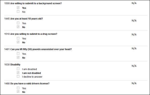 prescreening questions