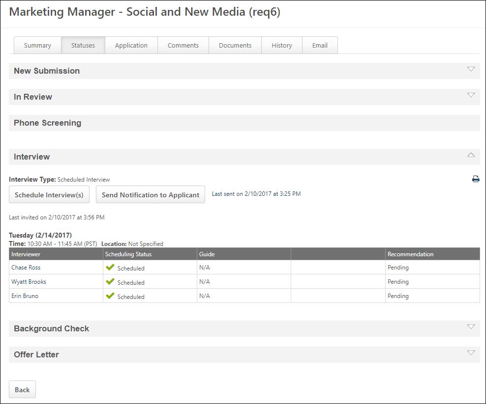 Applicant Profile Interview Status Type