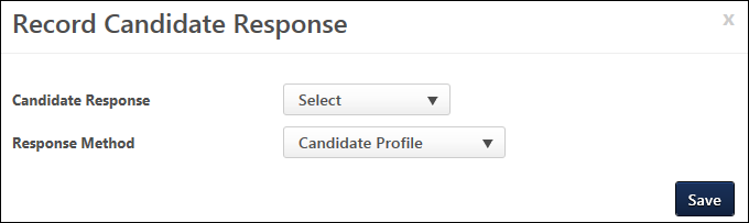 record candidate response pop up which enables you to enter the candidates response to the offer note the button only appears if a response is not