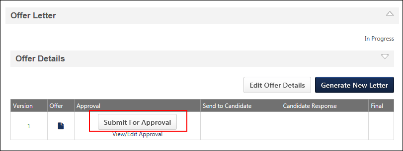 offer letter workflow approval