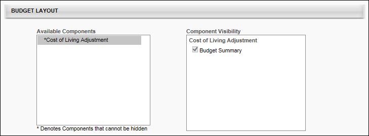 Base Template Layout Budget Layout