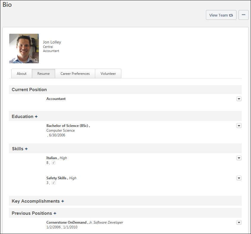 Bio - Resume Overview