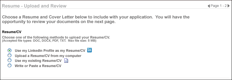 If No Applicant Resume Sections Are Mapped, The Upload Resume Option Does  Not Appear.See Add Resume Section   Applicant Resume For Additional  Information.