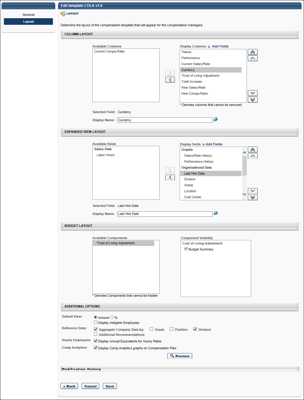 Base Compensation Template Layout