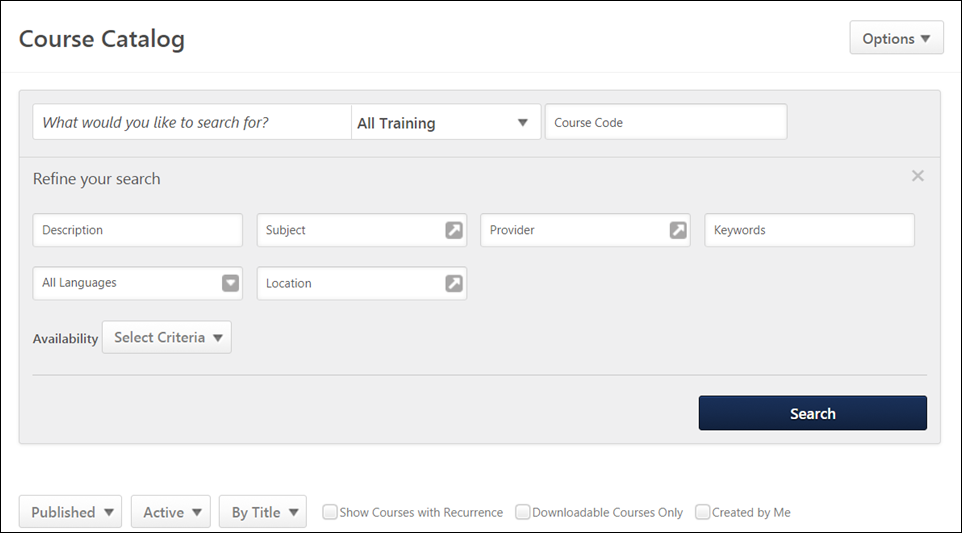 Course Catalog Search - New