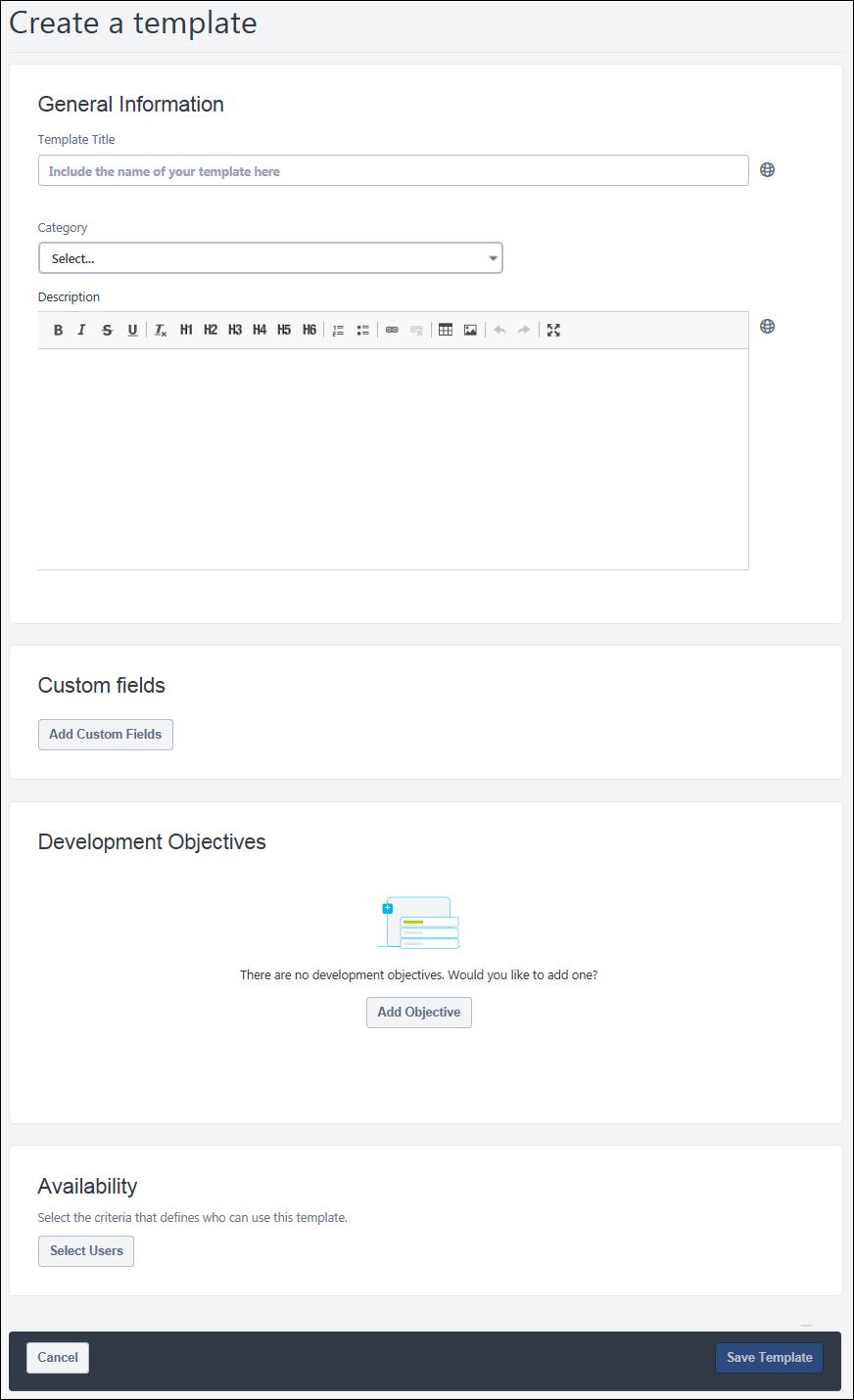 Createedit Development Plan Template