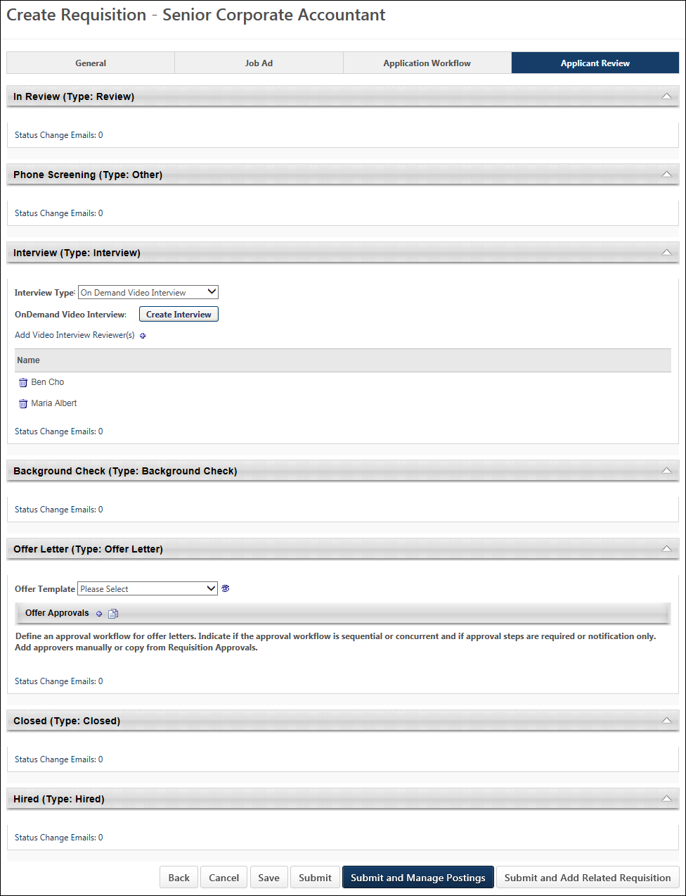 Create/Edit Requisition - Applicant Review Tab Overview