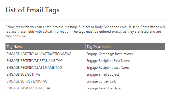 Engage Invitation And Reminder Email Tags