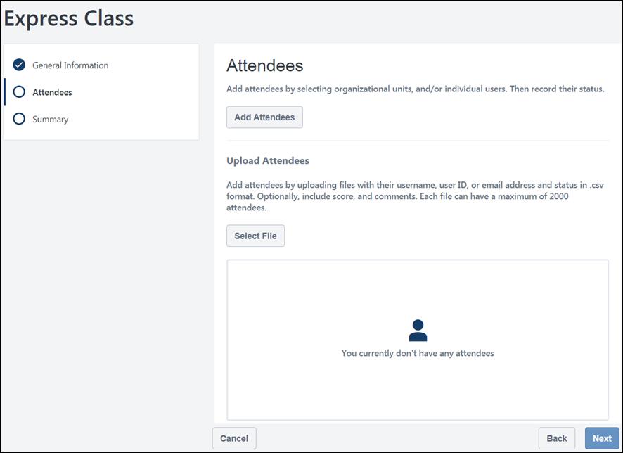 Create Express Class - Attendees