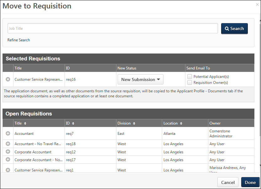Manage Applicants - Move to Requisition