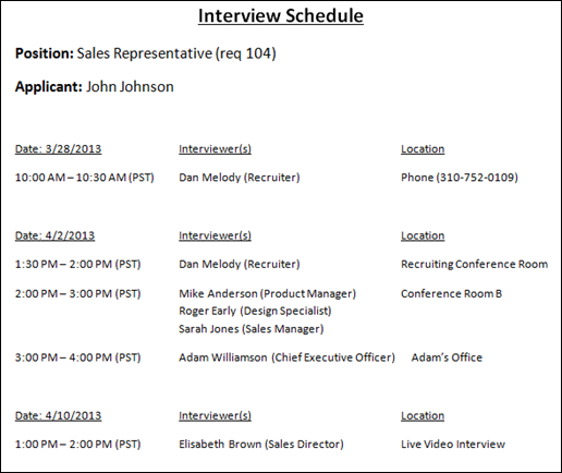 Statuses Tab - Interview Status Type - Scheduled Interview