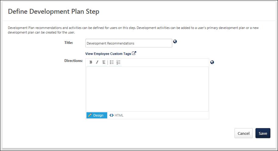 Create SMP Template - Development Plan Sub-Step
