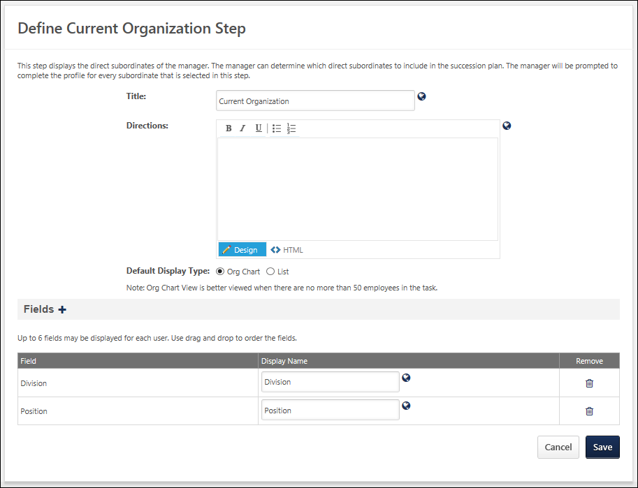 Create SMP Template - Org Chart/Current Talent Pool Step
