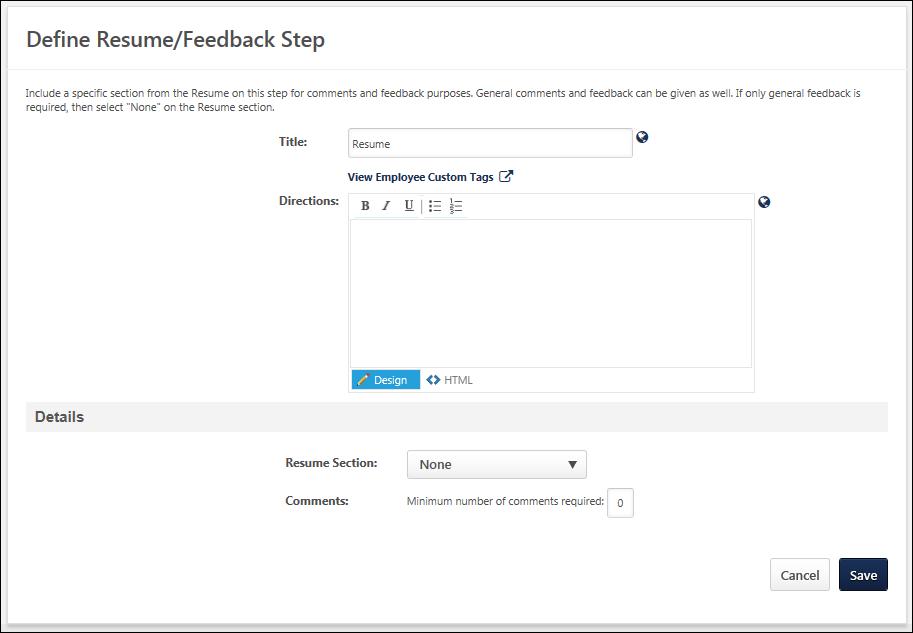 Create Smp Template Resume Feedback Sub Step