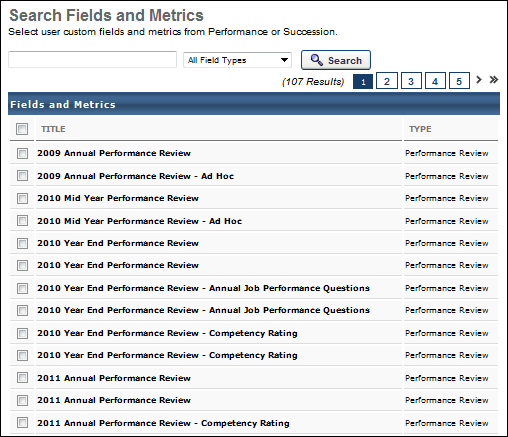 Performance Review Section Score Metrics