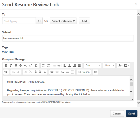manage applicants send resume review link