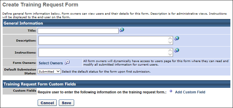 Training Request Forms Create