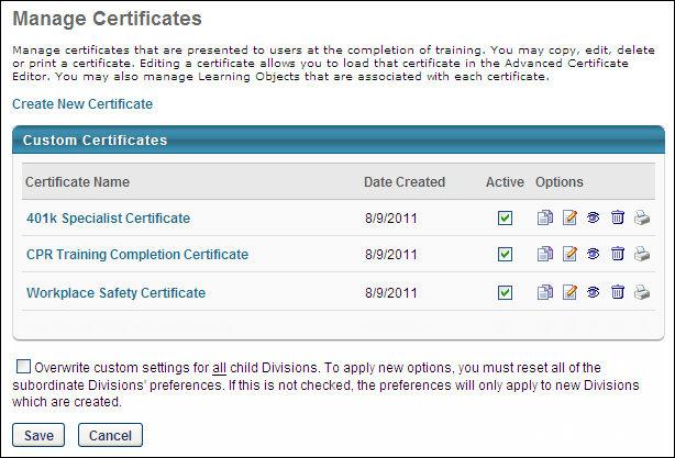 Manage Custom Certificates